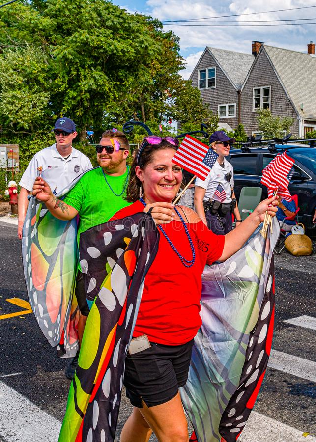 Provincetown, Massachusetts US - August 22, 2019 People walking in the Annual Provincetown Carnival Parade on Commercial Street. Provincetown, Massachusetts US stock photos