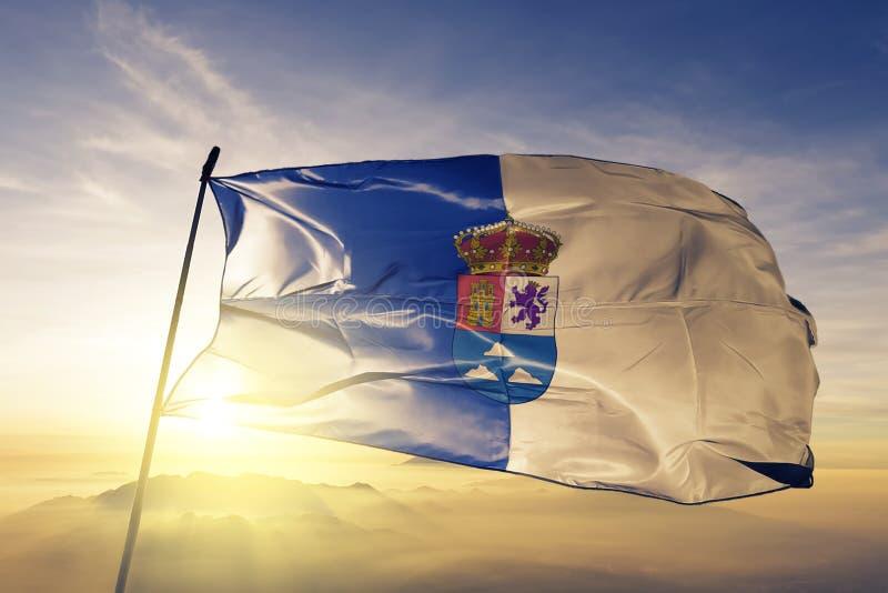 Provincia del Las Palmas de la tela del paño de la materia textil de la bandera de España que agita en el top ilustración del vector