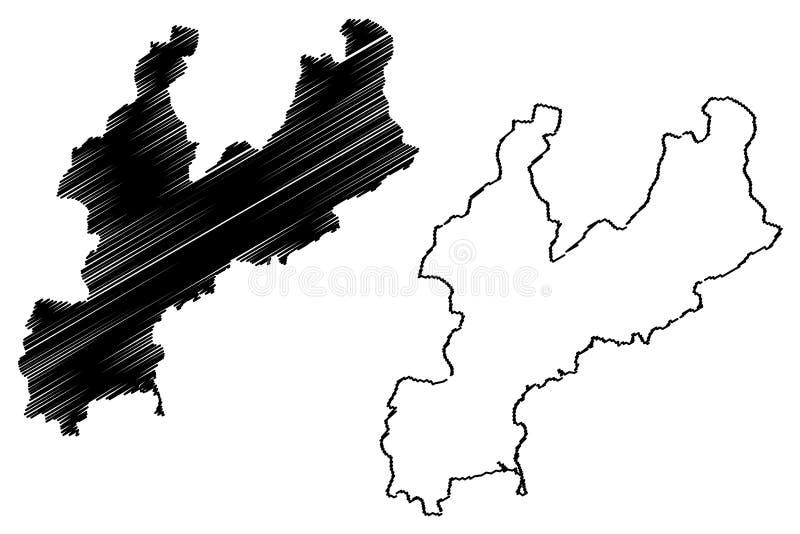 Provincia del sud repubblica democratica popolare della Corea, DPRK, DPR Corea, province di Hamgyong dell'illustrazione di vettor illustrazione di stock