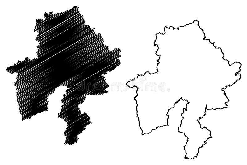 Provincia Reino de Bélgica, provincias de Namur de Bélgica, ejemplo del vector del mapa de la región de valón, mapa de Namur del  libre illustration