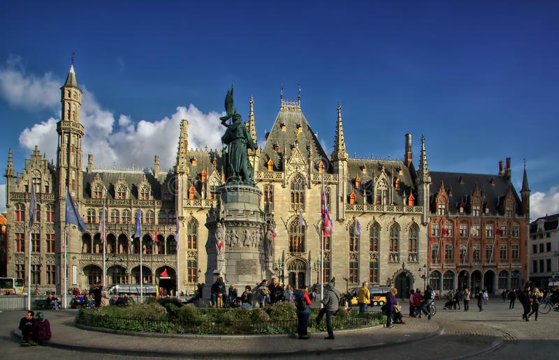 The Provinciaal Hof. A view of a The Provinciaal Hof. Bruges. The provincial court. The Neogothic building is located in the Markt square stock images