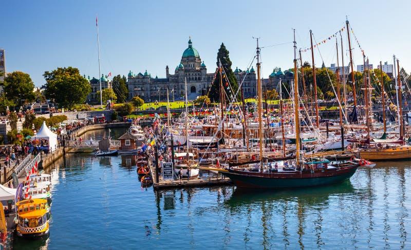 Provincial Capital Legislative Buildiing Wooden Boats Inner Harbor British Columbia Canada. Victoria, British Columbia - August 31, 2013 Provincial Capital royalty free stock photos