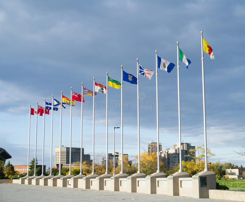 Provincial Flags of Provinces of Canada stock photos