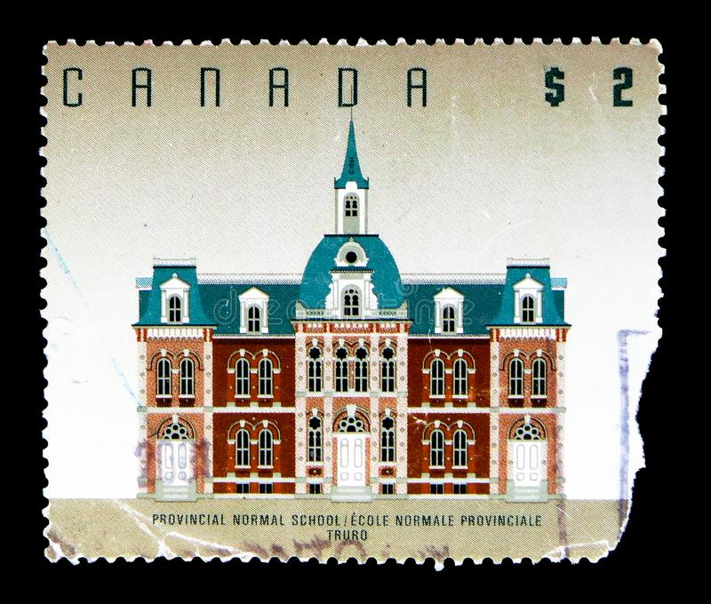 Provincial Normal School, Truro, High Value Definitives 1991-96: Architecture serie, circa 1995. MOSCOW, RUSSIA - MAY 15, 2018: A stamp printed in Canada shows stock photography