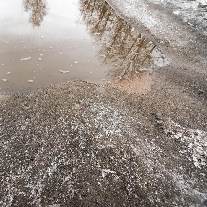 Provincial road with snow and puddle royalty free stock images