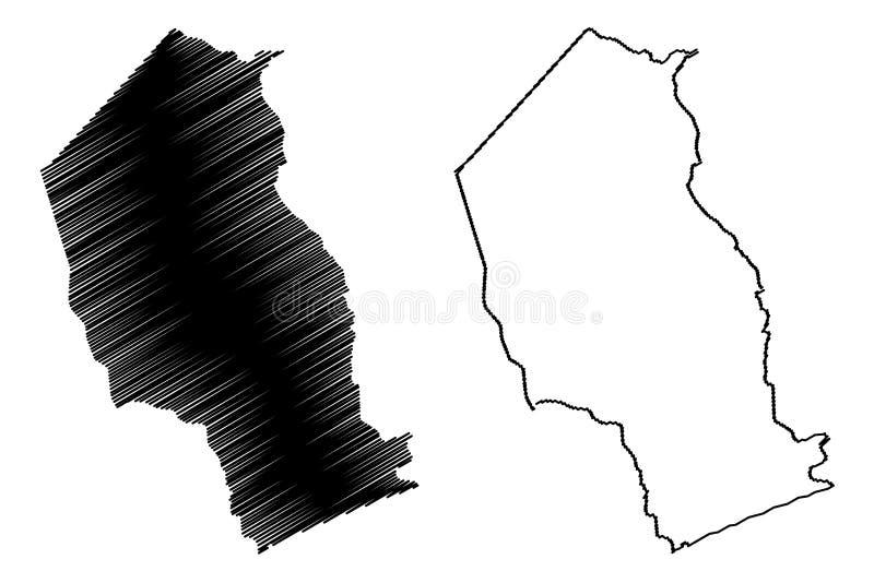 Provincias de la provincia de Gaza de Mozambique, rep?blica del ejemplo del vector del mapa de Mozambique, mapa de Gaza del bosqu stock de ilustración