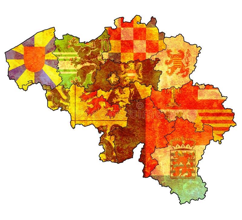 Provincias en el mapa de Bélgica ilustración del vector