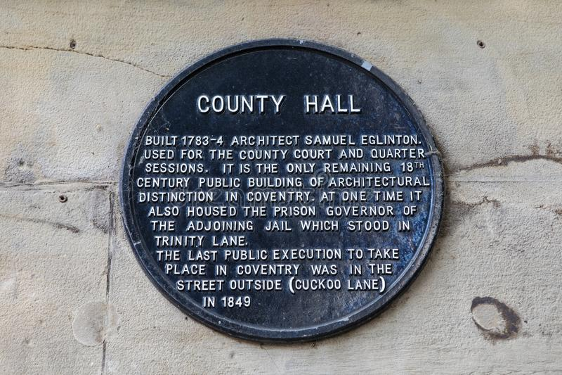 Provincie Hall Plaque in Coventry royalty-vrije stock fotografie