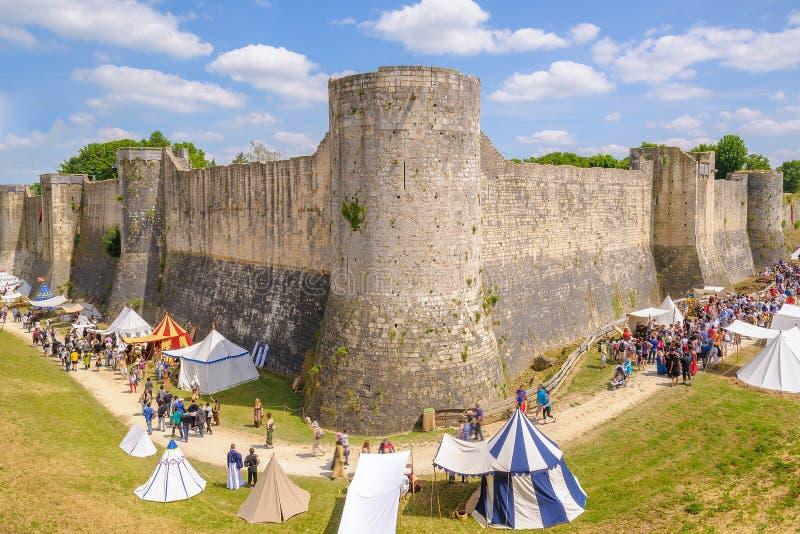 Provins Średniowieczny festiwal brać miejsce podczas w połowie Czerwa obraz royalty free