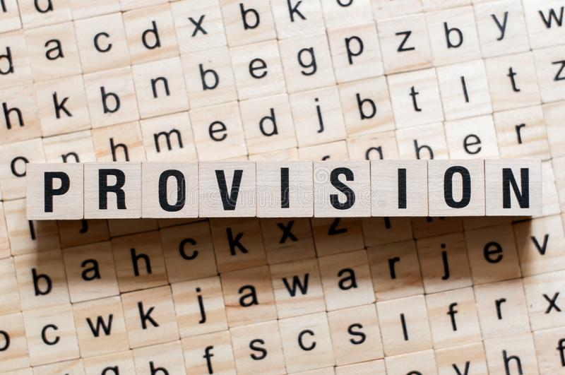 Provision word concept. On cubes royalty free stock photography