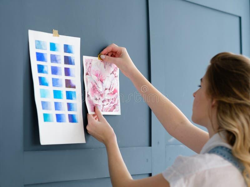 Provkarta för teckning för dekor för inspirationkonstworkspace arkivfoto