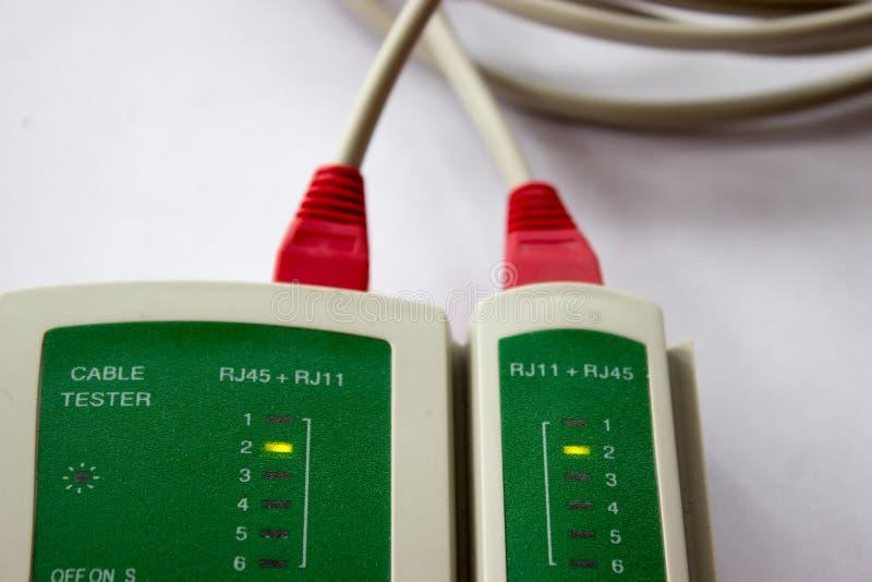 Provning för nätverksLAN-kabel royaltyfria bilder