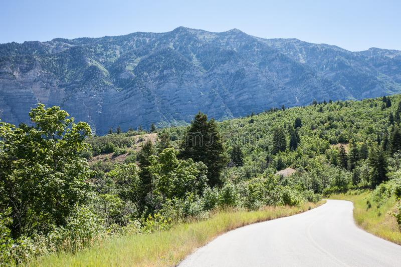 Provo Canyon utah mountains. Beautiful Utah Mountains, Provo Canyon with road pathway to side stock photos