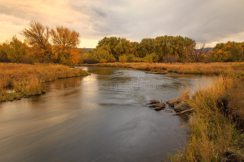 Provo River fall landscape in Heber Valley. royalty free stock image