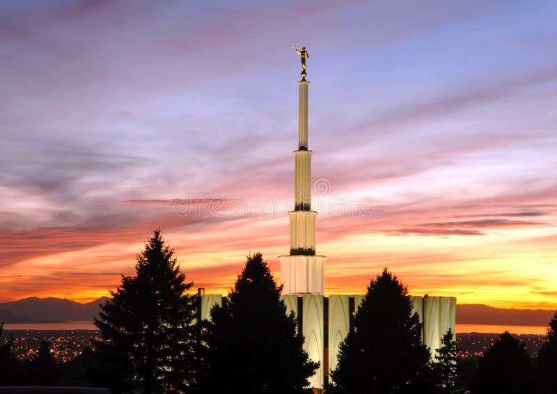 Provo Utah świątynia przy zmierzchem obraz royalty free
