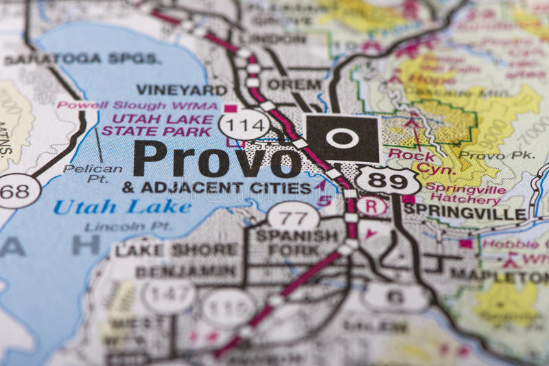 Provo, Utah on map. Closeup of Provo, Utah on a political map of the United States stock images