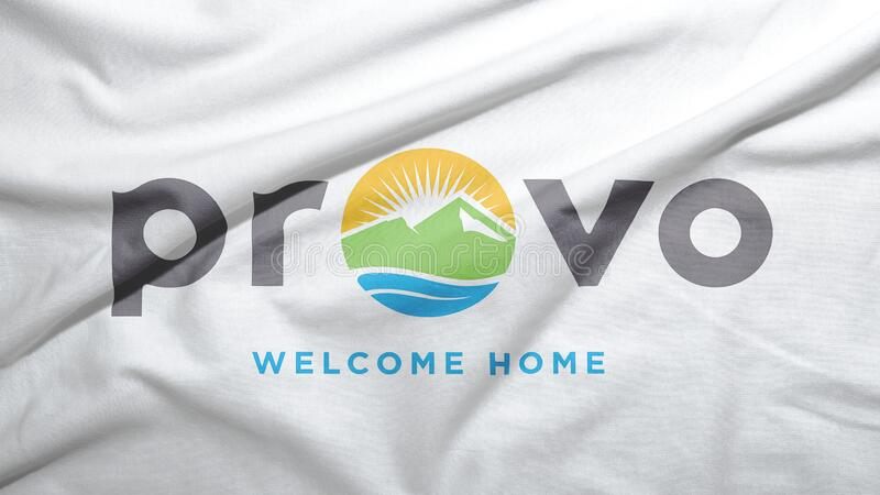 Provo of Utah of United States flag background. Provo of Utah of United States flag on the fabric texture background royalty free stock photography