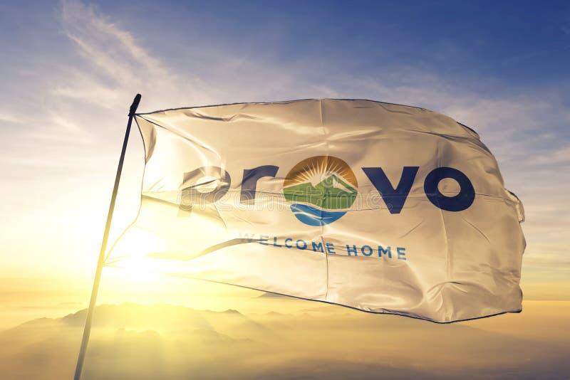 Provo of Utah of United States flag waving on the top. Provo of Utah of United States flag waving stock image