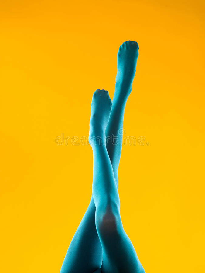 Download Provocative Woman Legs In Blue Pantyhose Stock Image - Image: 33933609