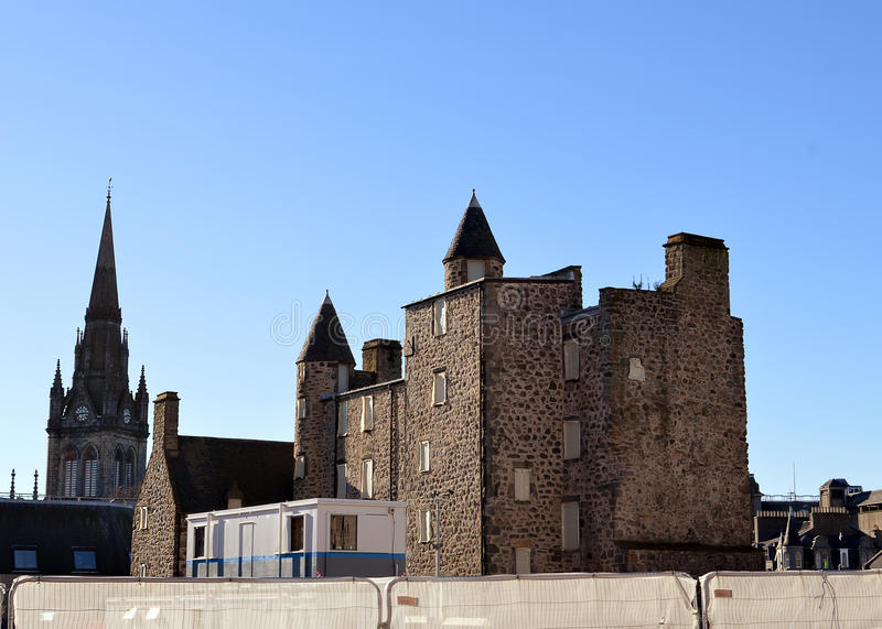 Provost het huis van Skenes: het werk begint op Marischal-Vierkant, Aberdeen royalty-vrije stock afbeelding