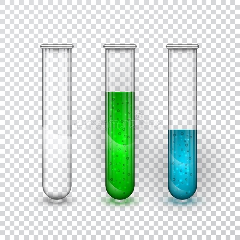 Provrör genomskinlig flaska för kemiskt laboratorium med flytande också vektor för coreldrawillustration royaltyfri illustrationer