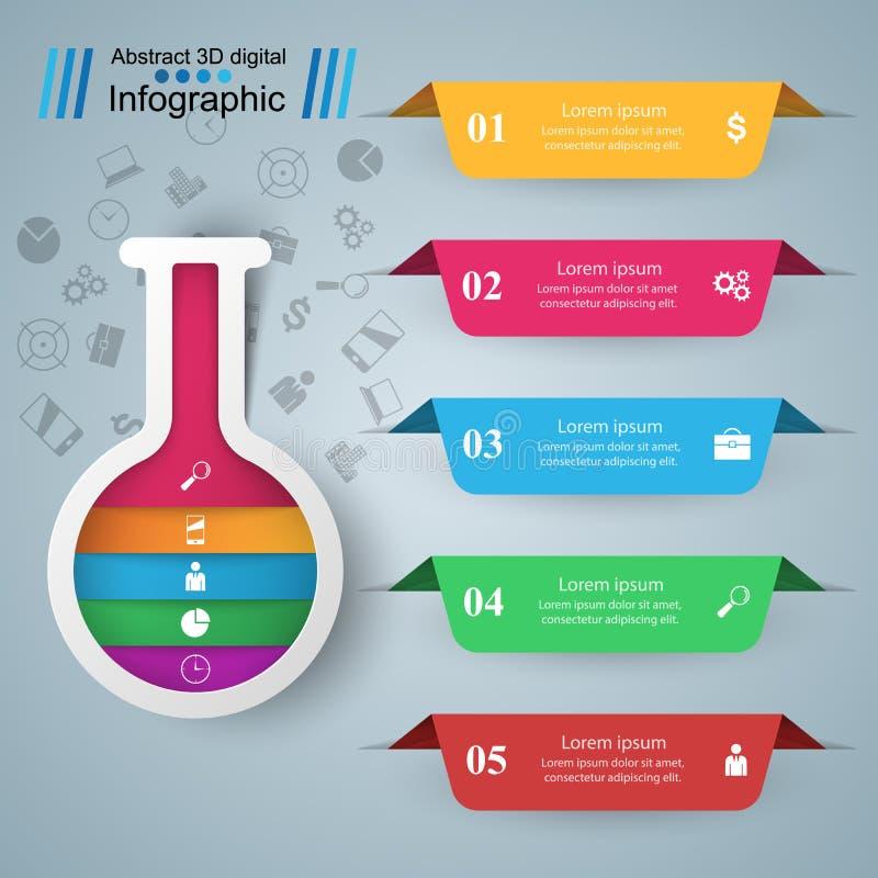 Provrör - infographic affär Fem färgobjekt royaltyfri illustrationer