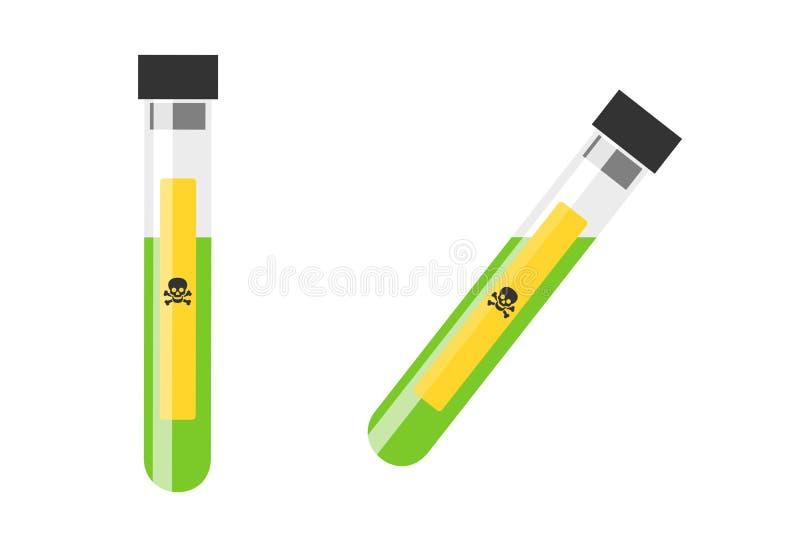 Provrör med farlig, giftlig och giftig flytande stock illustrationer