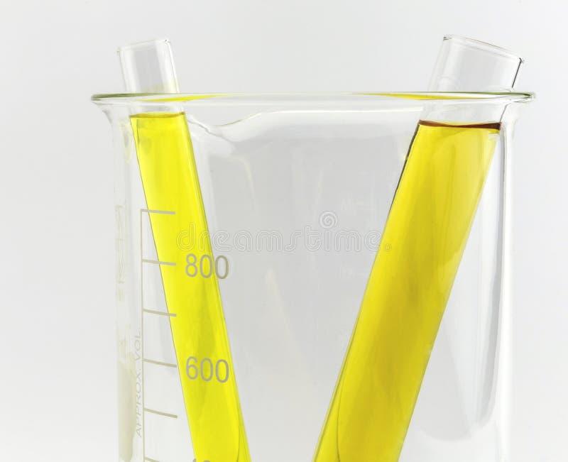 Provrör med gul flytande (vätska, vatten) i dryckeskärlen arkivbild