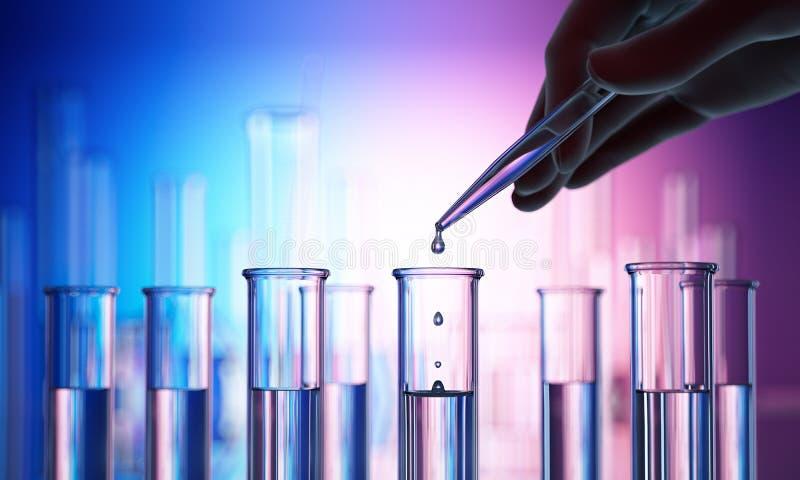 Provrör och olik laboratoriumglasföremål med reflexioner royaltyfri illustrationer