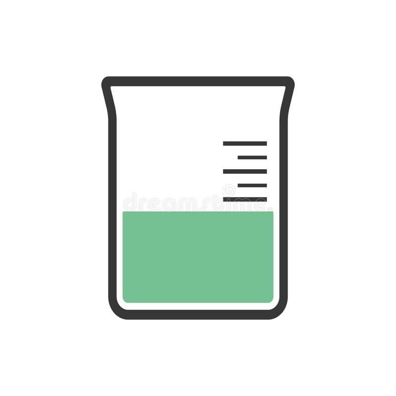 Provrörsymbolsvektor eps10 Dryckeskärlöversikt med grön flytande inom symbol royaltyfri illustrationer