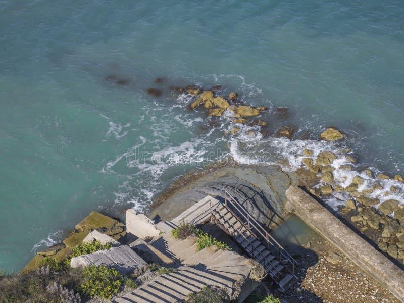 Provvedimenti concreti su un pendio ripido che conduce alla riva di mare blu rocciosa, vista aerea, Corfù Grecia fotografia stock