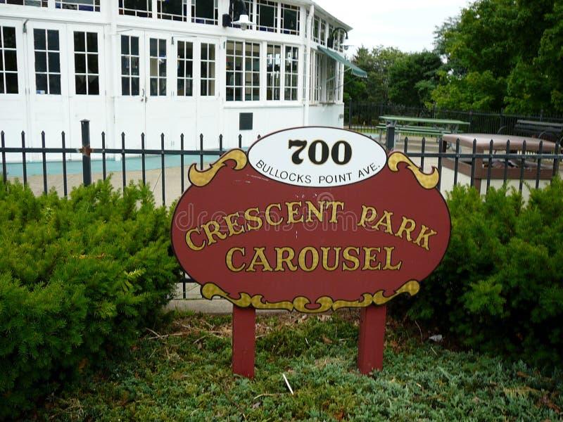 Provvidenza orientale Rhode Island di Crescent Park Looff Carousel Signage fotografia stock