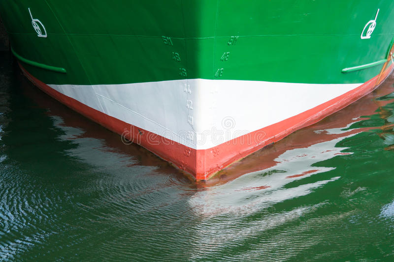 Prow of fishing boat with draft signs, Netherlands royalty free stock images
