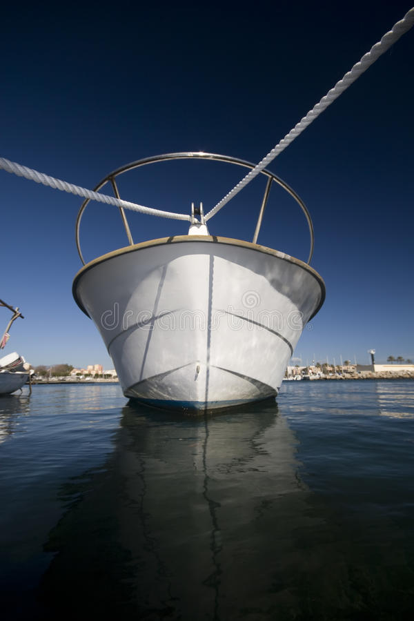 Prow Of Moored Boat In Harbor Royalty Free Stock Image