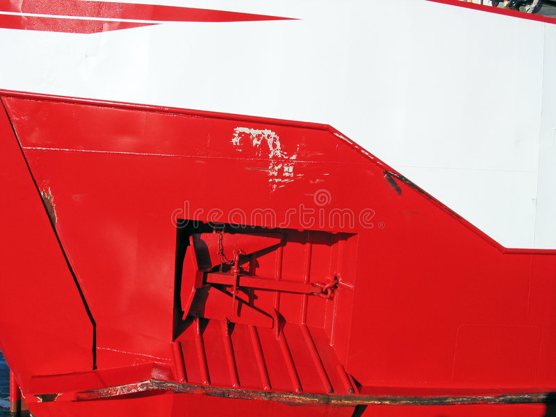 Prow of a red ferry boat. Prow of a ferry boat - transportation abstract background royalty free stock photo