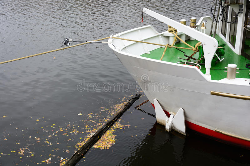 The prow of the ship traffic on the surface of the river. Moored on the waterfront stock images