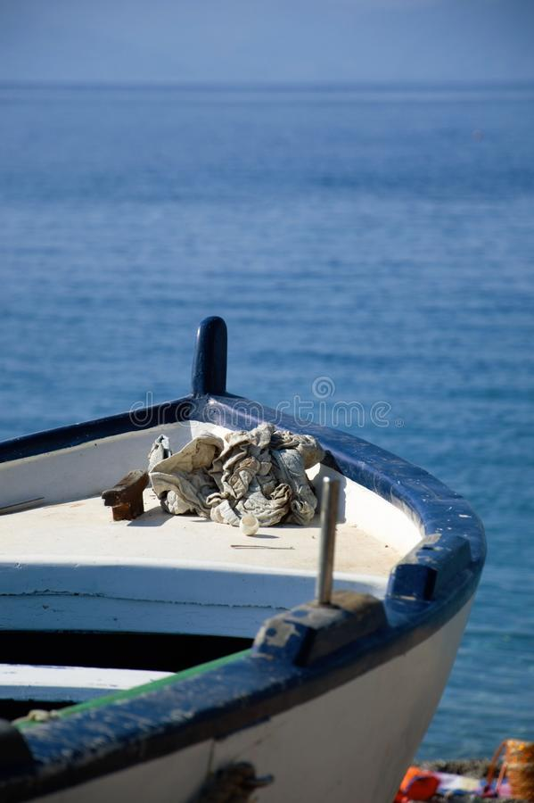Prow to the sea. A boat with the prow towards, ready to sail in sicilian sea royalty free stock photos