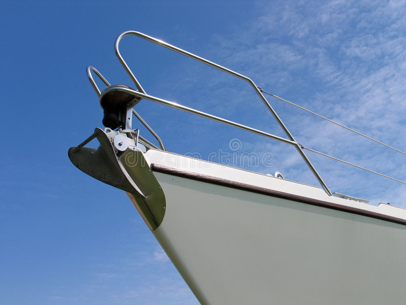 Prow of a yacht. Details of the front part of a prow of a yacht stock photos