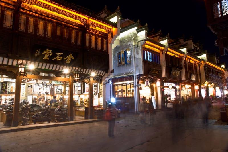Prowincja Anhui Huangshan miasta Tunxi ulicy noc fotografia royalty free