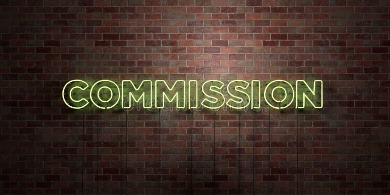 PROWIZJA - fluorescencyjny Neonowej tubki znak na brickwork - Frontowy widok - 3D odpłacający się królewskość bezpłatny akcyjny o royalty ilustracja