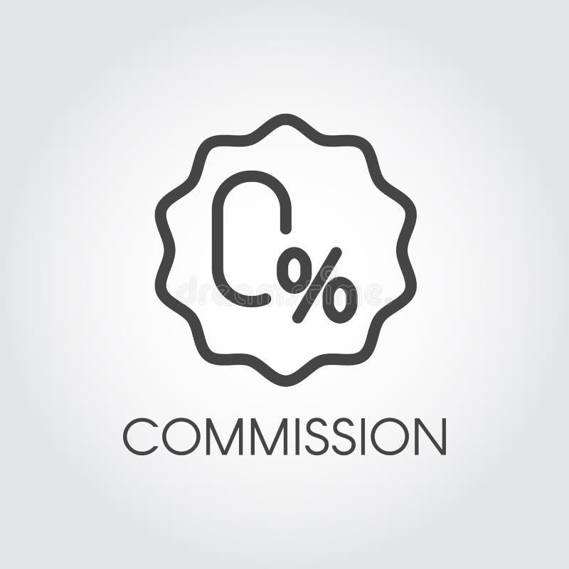 Prowizja procentu zero ikona Odznaka na pieniężnym, Bezpłatnym tempie lub kredyta pojęcia etykietce, deponować pieniądze lub hand royalty ilustracja