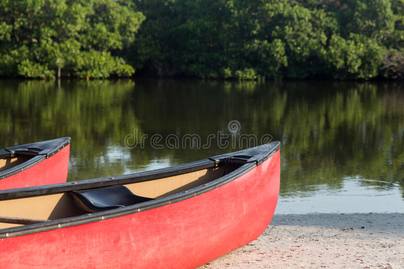 Prows or front of two plastic kayaks or canoes. Two red prows of canoes or kayaks with an open pond or river beach in background ready for paddling expedition stock image