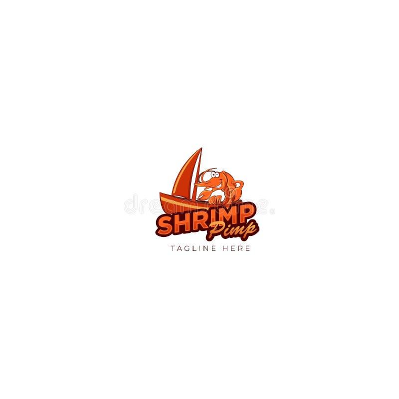 Proxeneta alaranjado Logo Design do camarão ilustração stock