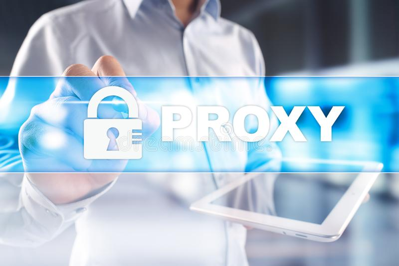 Proxy, VPN, Secure internet connection concept on virtual screen. royalty free stock images
