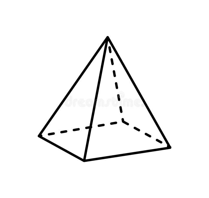 Proyección de la pirámide cuadrada recta y de línea discontinua ilustración del vector
