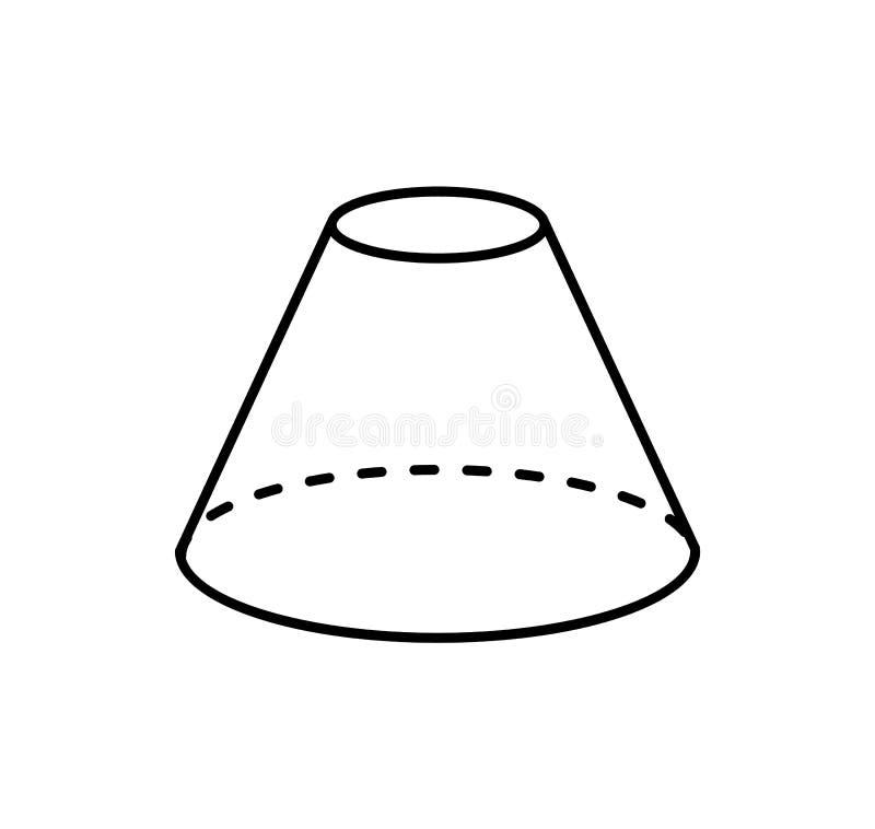 Proyección geométrica aislada cono embotada de la forma libre illustration