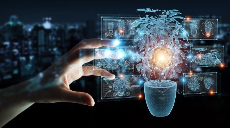 Proyección holográfica de una planta con análisis digital y representación 3D foto de archivo