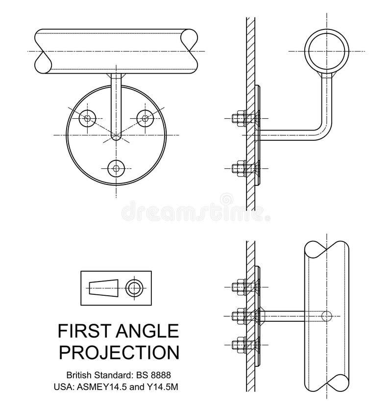 Proyección orthográfica del primer ángulo stock de ilustración