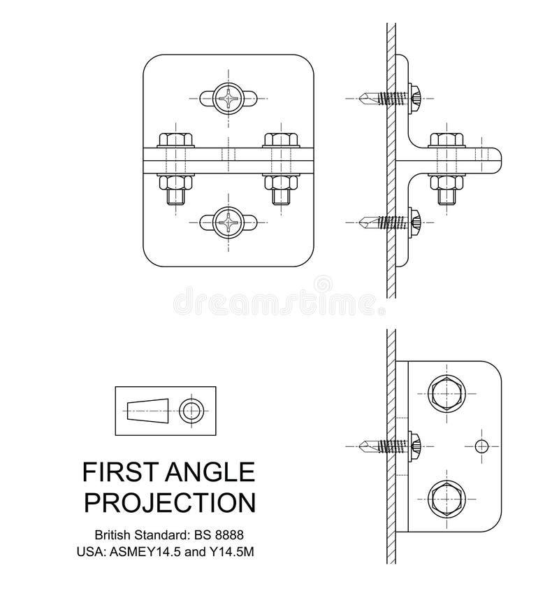 Proyección orthográfica del primer ángulo ilustración del vector