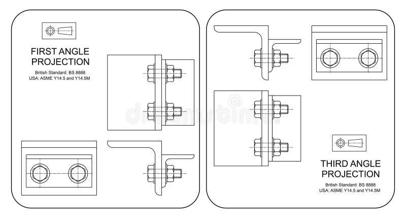 Proyección orthográfica del primer y tercer ángulo libre illustration